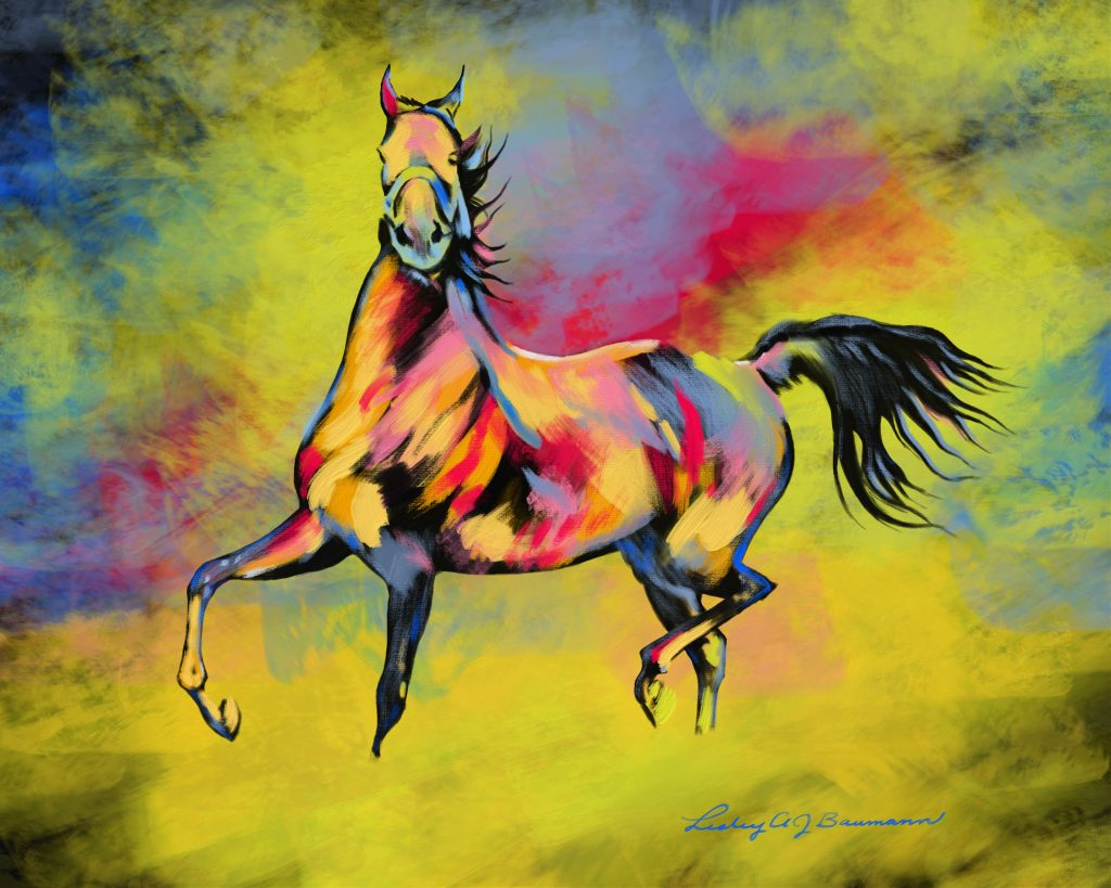 digital painting of Get Some, and American Saddlebred mare