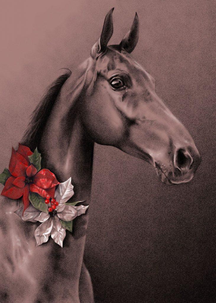 American Saddlebred holiday card illustration