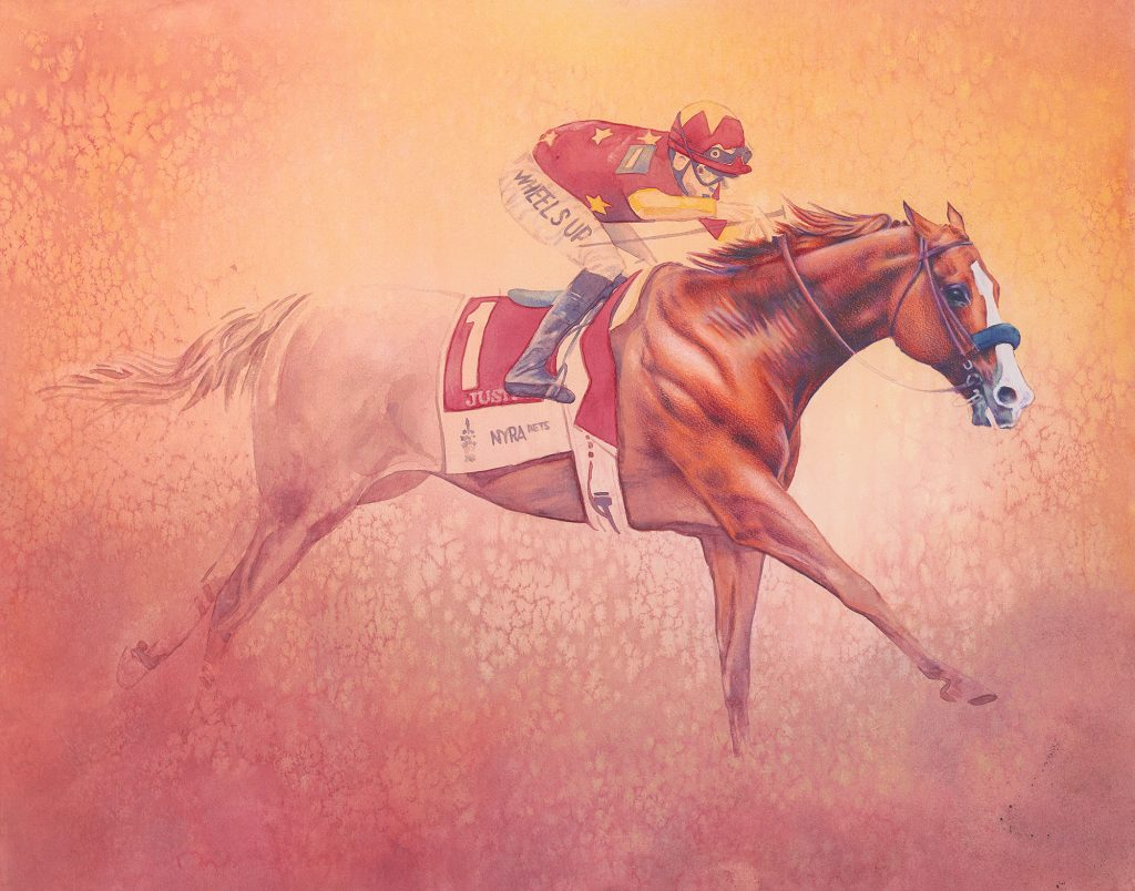 Justify Wins the Triple Crown - colored pencil and watercolor on board