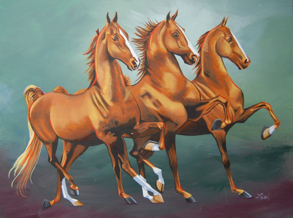 Saddlebred Trio - oil on panel